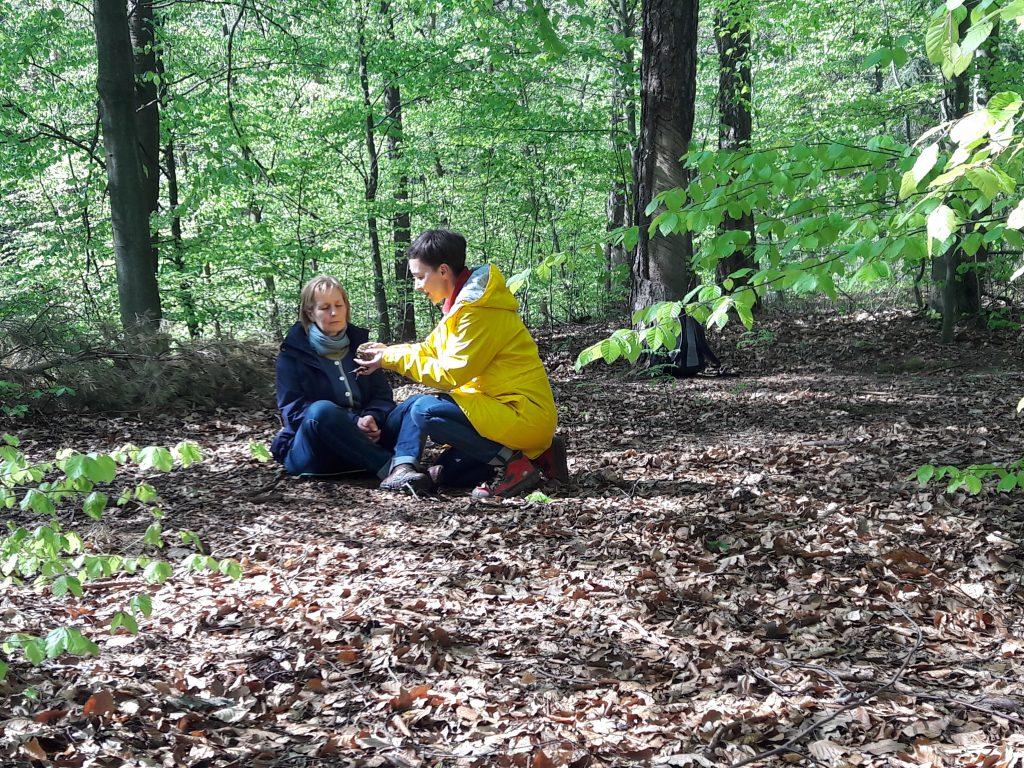 Waldbaden in Dresden beim achtsamen Umgang mit der Natur. Zwei Teilnehmerinnen geben sich verschiedene Dinge zum riechen.