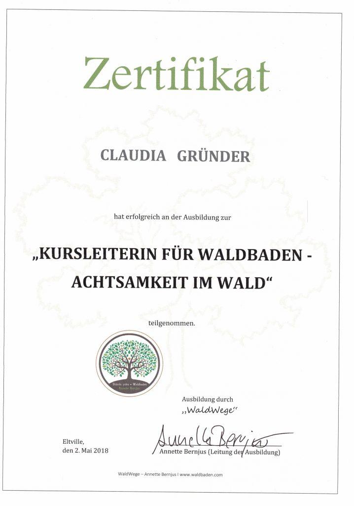 Zertifikat Waldbaden