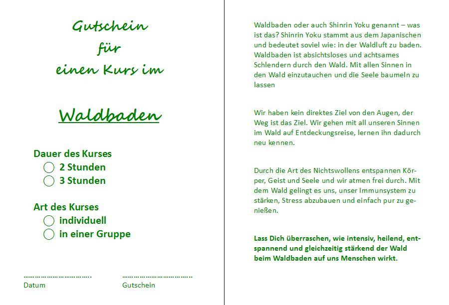 Gutschein Innenseite für Waldbaden in Dresden